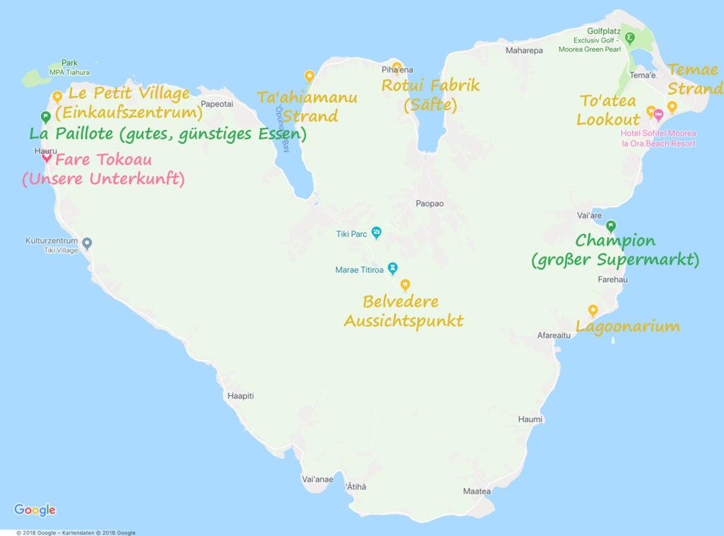 Karte Highlights Moorea