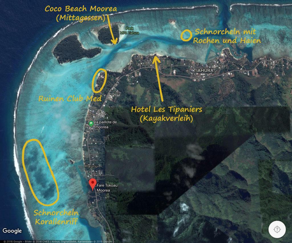 Karte Übersicht Schnorcheln Moorea